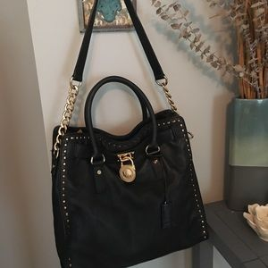 Michael Kors Hamilton Satchel Bag with Gold Chain